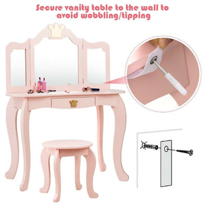 Kids Vanity Set Makeup Dressing Table Chair Set with Drawer & Tri-Folding Mirror - Vanitiest