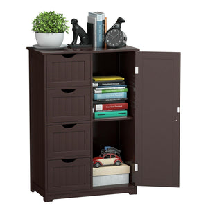Wooden Freestanding Bathroom Floor Cabinet with 1 Door and 4 Drawers - Vanitiest
