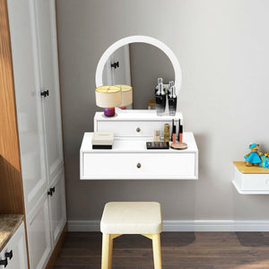 Makeup Dressing Wall Mounted Vanity Mirror with 2 Removable Drawers - Vanitiest