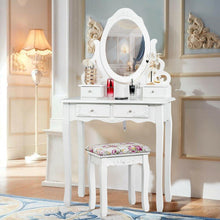Load image into Gallery viewer, 4 Drawers Vanity Wood Makeup Dressing Table Set with Oval Mirror - Vanitiest