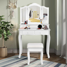 Load image into Gallery viewer, 4 Drawers Tri-Fold Mirror Makeup Vanity Set Dressing Table with Cushioned Stool - Vanitiest
