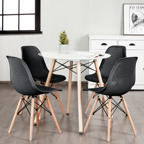 Set of 4 Modern Plastic Hollow Dining Bedroom Chairs with Wood Legs - Vanitiest