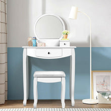 Load image into Gallery viewer, Vanity Set Makeup Dressing Table with Large Round Mirror and 3 Drawers - Vanitiest