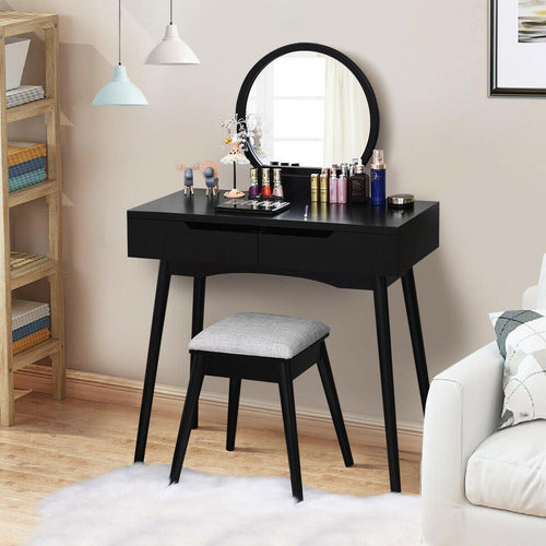 Makeup Vanity Table Set with Round Mirror and 2 Sliding Drawers - Vanitiest