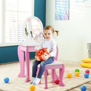 Kids Vanity Set Wooden Makeup Dressing Table Chair Set with Mirror and Drawer - Vanitiest