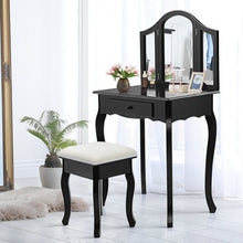 Load image into Gallery viewer, Vanity Makeup Dressing Table with Tri-Folding Mirror and Drawer