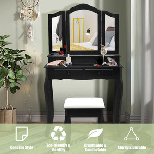 4 Drawers Tri-Fold Mirror Makeup Vanity Set Dressing Table with Cushioned Stool - Vanitiest