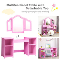 Load image into Gallery viewer, 2 in 1 Detachable Design Kids Vanity Dressing Table Set with Tri Folding Mirror - Vanitiest