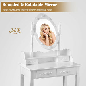 Makeup Vanity Dressing Table Set with 10 Dimmable Bulbs and Cushioned Stool