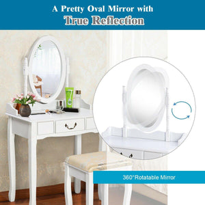 Vanity Makeup Dressing Table Set with Rotating Mirror and Drawer-White - Vanitiest