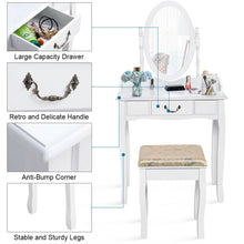 Load image into Gallery viewer, Vanity Makeup Dressing Table Set with Rotating Mirror and Drawer-White - Vanitiest