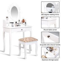 Load image into Gallery viewer, Vanity Set Makeup Dressing Table with Oval Rotatable Mirror and 3 Drawers - White - Vanitiest