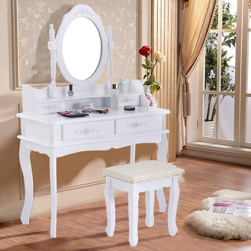 White Vanity Set Makeup Dressing Table with Oval Mirror and 4 Drawers - Vanitiest