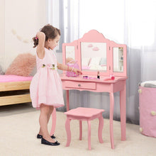 Load image into Gallery viewer, Kids Vanity Set Makeup Dressing Table Stool Set with Tri-folding Mirror - Vanitiest