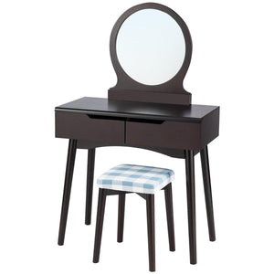 2 Drawers Makeup Dressing Table Vanity Set with Round Mirror Cushioned Stool - Vanitiest