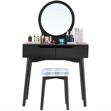 Load image into Gallery viewer, 2 Drawers Makeup Dressing Table Vanity Set with Round Mirror Cushioned Stool - Vanitiest