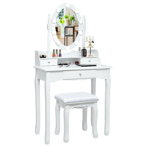 Vanity Set Dressing Table with Lighted Oval Mirror 3 Drawers and Cushioned Stool - Vanitiest