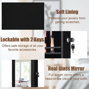 Lockable Wall Door Mounted Mirror Jewelry Cabinet with 15 LED Lights