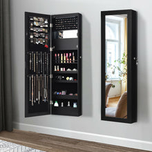 Load image into Gallery viewer, Lockable Wall Door Mounted Mirror Jewelry Cabinet with 15 LED Lights