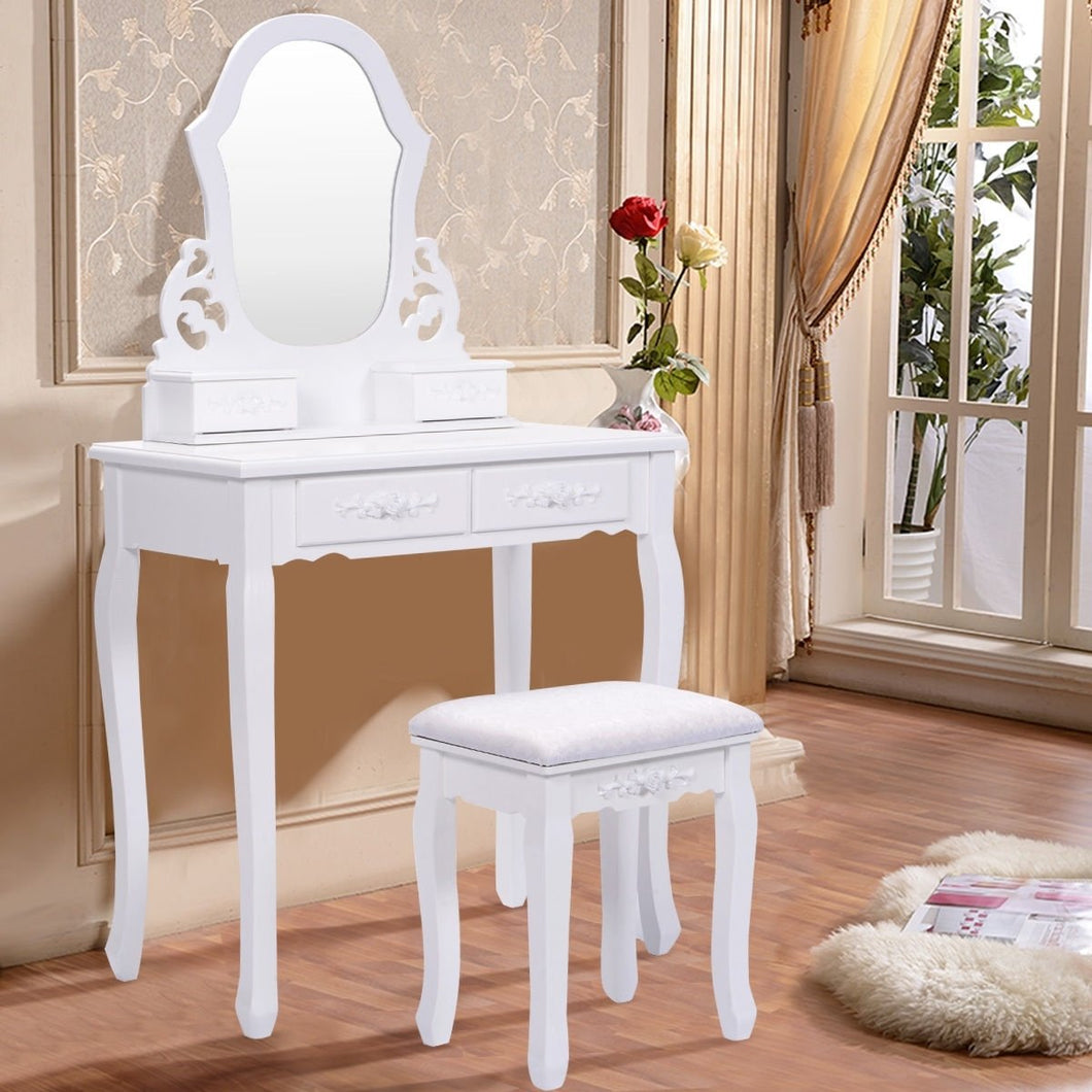 Vanity Set Makeup Dressing Table 4 Drawers with Fan Shaped Mirror and Cushioned Stool
