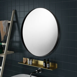 27.5 Inch Modern Metal Wall-Mounted Round Vanity Mirror for Bathroom