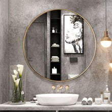 Load image into Gallery viewer, 27.5 Inch Modern Metal Wall-Mounted Round Vanity Mirror for Bathroom