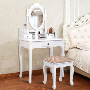 Vanity Set Makeup Dressing Table with Oval Rotatable Mirror and 3 Drawers - White - Vanitiest