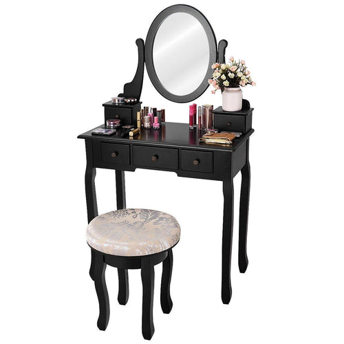 Black Vanity Set Makeup Dressing Table with Round Mirror 5 Drawers and Cushioned Stool - Vanitiest