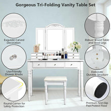 Load image into Gallery viewer, Vanity Tri-Folding Necklace Hooked Mirror Dressing Table Set with 7 Drawers - Vanitiest
