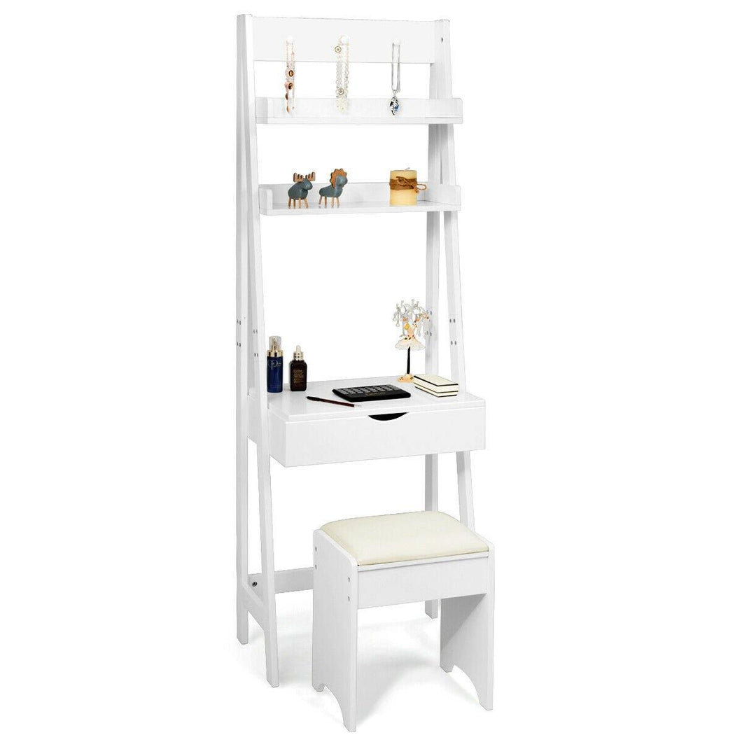 3-in-1 Makeup Dressing Table Shelf Vanity Set with Flip Top Mirror - Vanitiest