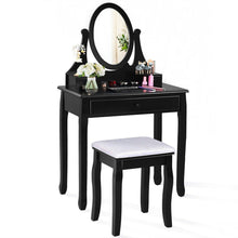 Load image into Gallery viewer, 3 Drawers Vanity Set Wooden Makeup Dressing Table with Oval Mirror and Stool - Vanitiest