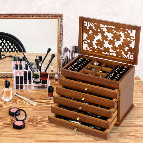 6 Layers Large Wooden Jewelry Organizer Box with Four-Leaf Carved Cover - Vanitiest