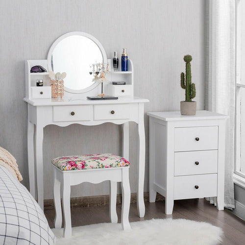 Makeup Vanity Set Girls Dressing Table with 4 Drawers and Oval Mirror - Vanitiest