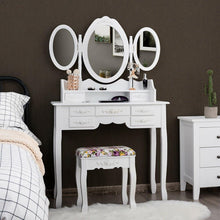Load image into Gallery viewer, 7 Drawers Vanity Set Dressing Table with Tri-Folding Mirror and Padded Stool - Vanitiest