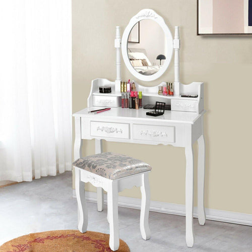 Vanity Table Set Wood Dressing Table Set with 4 Drawers Oval Mirror and Stool - Vanitiest