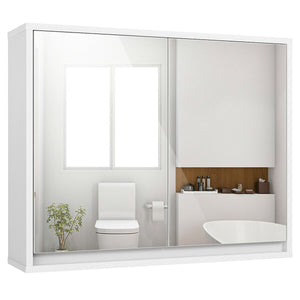 Wall Mounted Bathroom Cabinet with Double Mirror Door and Shelf