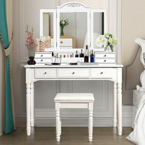 Vanity Tri-Folding Necklace Hooked Mirror Dressing Table Set with 7 Drawers - Vanitiest