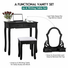 Load image into Gallery viewer, Vanity Set Makeup Dressing Table 4 Drawers with Fan Shaped Mirror and Cushioned Stool