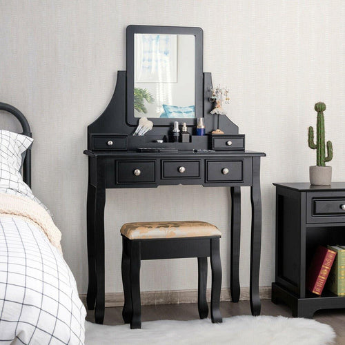 5 Drawers Makeup Vanity Set Dressing Table with Rotatable Mirror and Cushioned Stool - Vanitiest