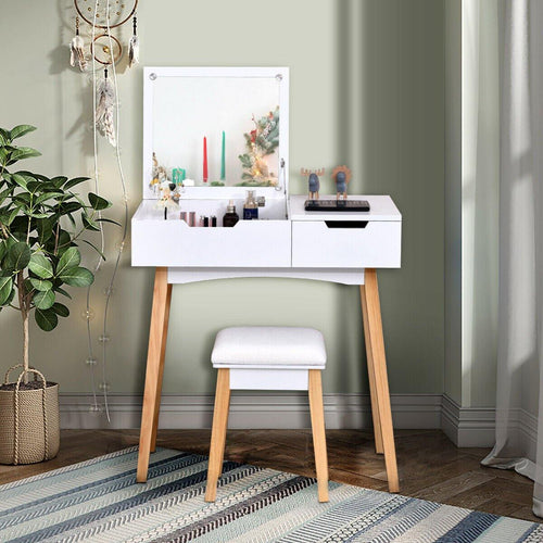 Makeup Vanity Set Dressing Table with Flip Top Mirror and Cushioned Stool - Vanitiest