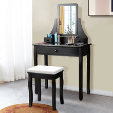 Load image into Gallery viewer, Square Mirrored Vanity Dressing Table Set with 3 Storage Boxes-Black