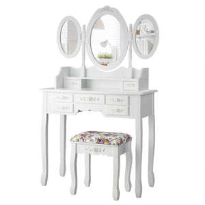 7 Drawers Vanity Set Dressing Table with Tri-Folding Mirror and Padded Stool - Vanitiest