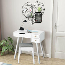 Load image into Gallery viewer, Vanity Set Dressing Table with Flip Top Mirror and Cushioned Stool - Vanitiest