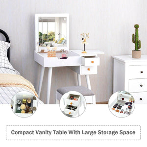Vanity Set Dressing Table with Flip Top Mirror and Cushioned Stool - Vanitiest