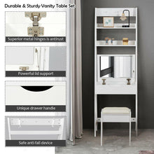 Load image into Gallery viewer, 3-in-1 Makeup Dressing Table Shelf Vanity Set with Flip Top Mirror - Vanitiest