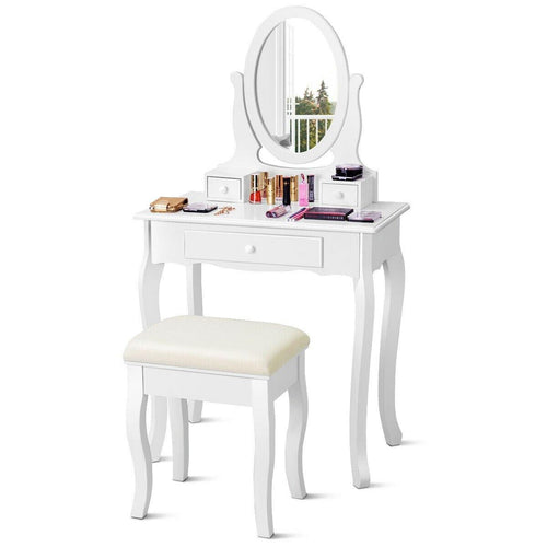 3 Drawers Vanity Makeup Table with Mirror and Cushioned Bench - White - Vanitiest