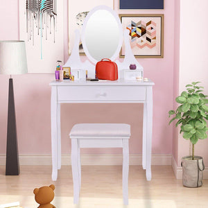 3 Drawers Vanity Set Wooden Makeup Dressing Table with Oval Mirror and Stool - Vanitiest