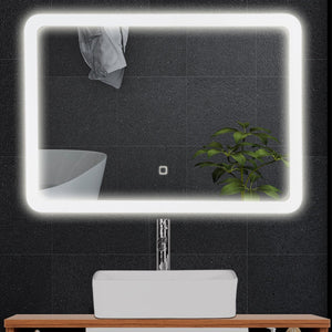 LED Lighted Wall Mounted Bathroom Rounded Arc Corner Mirror with Touch Button