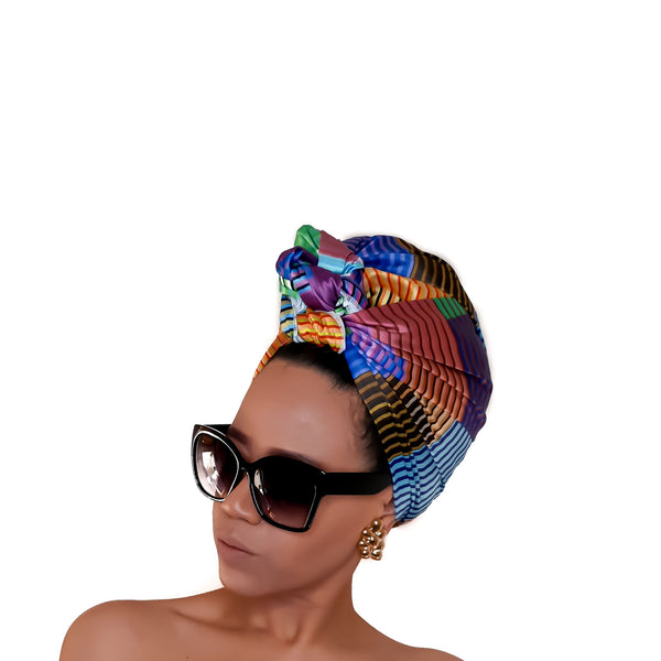 Printed Satin Head Wrap - Brave Bae in SQUARES & STRIPES