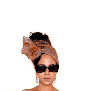 Organza Head Wrap - Endless Summer in CARAMEL